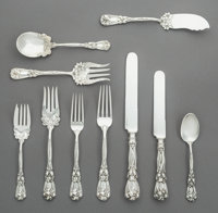 A One Hundred Two-Piece Durgin Iris Pattern Silver Flatware Service, Concord, New Ha
