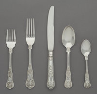 A Sixty-Piece R. Wallace & Sons Mfg. Co. Queens Pattern Silver Flatware Service, Wal