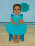 Fine Art - Painting, American, Gustavo Montoya (Mexican, 1905-2003). Niña con Sombrilla,1968. Oil on canvas. 24 x 18 inches (61.0 x 45.7 cm). Signed l...