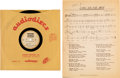 "Music Memorabilia:Memorabilia, Bob Dylan ""Long Ago, Far Away"" Rare 10"" Acetate and Sheet Music(circa 1960s)...."