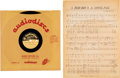 "Music Memorabilia:Memorabilia, Bob Dylan ""A Hard Rain's A Gonna Fall"" Rare 10"" Acetate and Sheet Music (circa 1960s)...."
