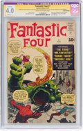 Silver Age (1956-1969):Superhero, Fantastic Four #1 Signature Series (Marvel, 1961) CGC Apparent VG4.0 Slight (C-1) Cream to off-white pages....
