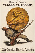 """Movie Posters:War, French World War I Propaganda (Davambez, 1915). Fine/Very Fine on Linen. French Poster (30.5"""" X 46.25"""") """"Deposit Your Gold f..."""