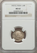 India:British India, India: British India. Edward VII 3-Piece Lot of Certified 1/4 Rupees NGC,... (Total: 3 coins)