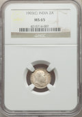 India:British India, India: British India. Edward VII 8-Piece Certified Partial Date Set of 2 Annas NGC, ... (Total: 8 coins)