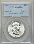Franklin Half Dollars: , 1962 50C MS64 Full Bell Lines PCGS. PCGS Population: (1111/282). NGC Census: (231/29). CDN: $180 Whsle. Bid for problem-fre...