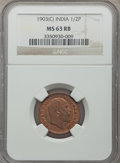 India:British India, India: British India. Edward VII 7-Piece Certified Date Set of 1/2 Pice NGC, ... (Total: 7 coins)