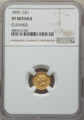 Gold Dollars: , 1850 G$1 -- Cleaned -- NGC Details. XF. NGC Census: (2/566). PCGS Population: (5/453). CDN: $220 Whsle. Bid for problem-fre...