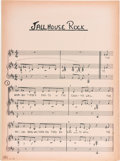 "Music Memorabilia:Memorabilia, Elvis '68 Comeback Special ""Jailhouse Rock"" Sheet Music (1968)...."