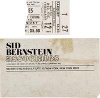 Beatles Sid Bernstein Business Card and Torn Carnegie Hall Ticket