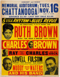Music Memorabilia:Posters, Muddy Waters/Ray Charles Memorial Auditorium Concert Poster (1954).Very Rare....