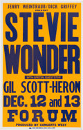 Music Memorabilia:Posters, Stevie Wonder/Gil Scott-Heron Forum Concert Poster (Jerry Weintraub/Dick Griffey, 1980). Very Rare....