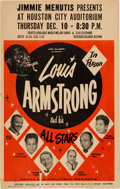 Music Memorabilia:Posters, Louis Armstrong and His All Stars Houston City Auditorium Concert Poster (Jimmie Menutis, 1959). Rare....