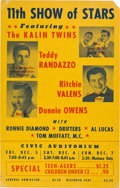 Music Memorabilia:Posters, Ritchie Valens 11th Show of Stars Civic Auditorium Concert Poster(1958). Extremely Rare....