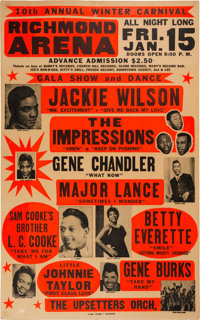 Jackie Wilson Richmond Arena Concert Poster (1965). Very Rare