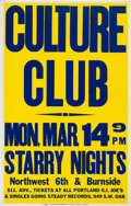 Music Memorabilia:Posters, Culture Club Starry Nights Concert Poster (1983)....
