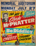 Music Memorabilia:Posters, Bo Diddley/The Crests/Chubby Checker Memorial Auditorium Concert Poster (1959). Very Rare....