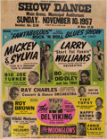 Music Memorabilia:Posters, Ray Charles/Bo Diddley Municipal Auditorium Concert Poster (1957).Very Rare....