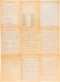 Music Memorabilia:Documents, Bob Dylan Various Compositions Sheet Music (circa 1960s)....