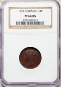 Great Britain: Victoria Proof Farthing 1839 PR64 Brown NGC