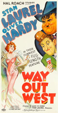 "Movie Posters:Comedy, Way Out West (MGM, 1937). Very Fine- on Linen. Three Sheet (41.5"" X 79.5"").. ..."