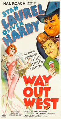 "Way Out West (MGM, 1937). Very Fine- on Linen. Three Sheet (41.5"" X 79.5"")"