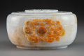 Carvings, A Chinese Jadeite Box with Lid. 3-1/2 x 6-1/8 x 5-1/4 inches (8.9 x 15.6 x 13.3 cm). ...