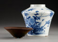 Ceramics & Porcelain, A Chinese Porcelain Jar with Jian Tea Bowl. 5-3/4 x 5-1/2 inches (14.6 x 14.0 cm). PROPERTY FROM A BEVERLY HILLS ESTATE. ... (Total: 2 Items)
