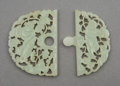 Carvings, A Chinese Carved Pale Celadon Jade Hehe Erxian Buckle, Qing Dynasty. 2-3/8 x 2-7/8 x 1/8 inches (6.0 x 7.3 x 0.5...