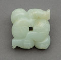 Carvings, A Chinese White Jade Acrobats Carving, Qing Dynasty. 1-5/8 x 1-5/8 x 1/2 inches (4.1 x 4.1 x 1.3 cm). ...