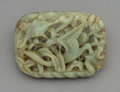 Jewelry, A Chinese Carved Celadon Jade Crane Buckle, Yuan-Ming Dynasty. 2-1/4 x 3-1/8 x 1/2 inches (5.7 x 7.9 x 1.3 cm). ...