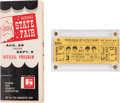 Music Memorabilia:Tickets, Beatles Indiana State Fair Concert Unused Ticket and Indiana State Fair Official Program (US, 1964)....