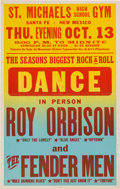 Music Memorabilia:Posters, Roy Orbison And The Fender Men St. Michael's Concert Poster (1960). Very Rare....