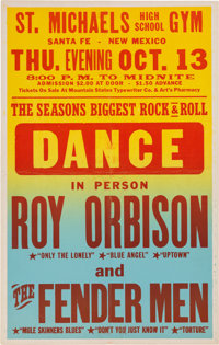 Roy Orbison And The Fender Men St. Michael's Concert Poster (1960). Very Rare