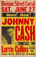 Music Memorabilia:Posters, Johnny Cash Division Street Corral Concert Poster With Vintage Signature (1959). Extremely Rare....
