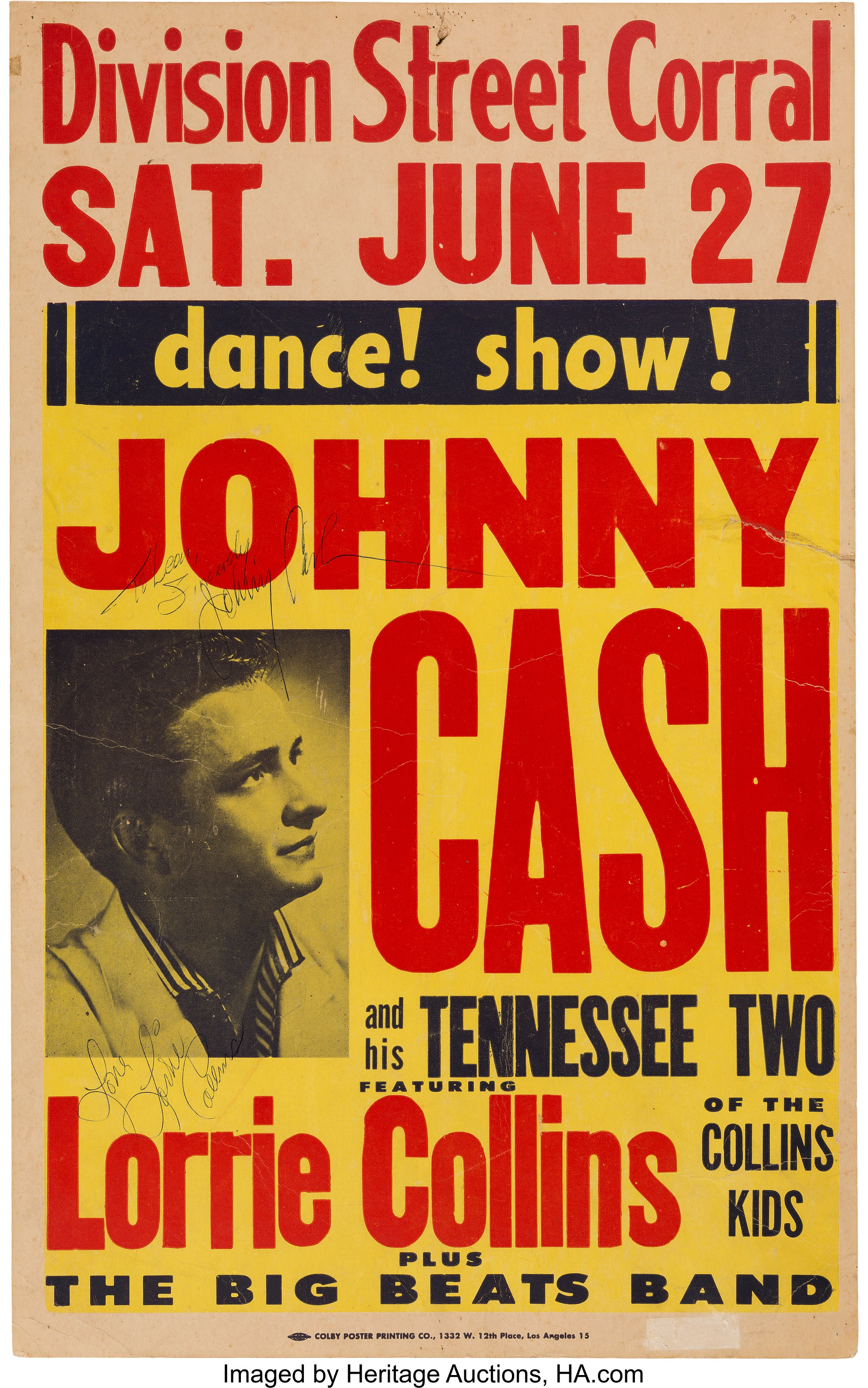 Johnny Cash Division Street Corral Concert Poster With Vintage | Lot #89132 | Heritage Auctions