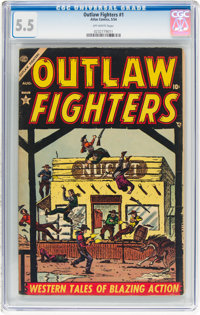 Outlaw Fighters #1 (Atlas, 1954) CGC FN- 5.5 Off-white pages
