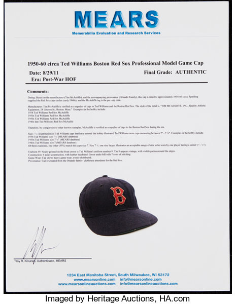 a323768fe26 1950 s Ted Williams Game Worn   Signed Boston Red Sox
