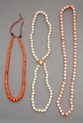 Jewelry, A Group of Three Chinese Coral and Gold Beaded Necklaces, 20th century. 20-1/2 inches (52.1 cm) (longest). ... (Total: 3 Items)