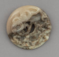 Carvings, A Chinese Carved Grey Jade Dragon Bi Disc, Qing Dynasty. 3-1/4 x 3-1/4 x 3-1/4 inches (8.3 x 8.3 x 8.3 cm). ...