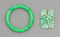 Jewelry, A Chinese Jadeite Bangle and Squirrel and Grapes Pendant. 3-1/4 x 3-1/4 inches (8.3 x 8.3 cm) (larger, bangle). ... (Total: 2 Items)