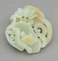 Carvings, A Chinese Carved White Jade Pebble Frog and Lotus Scholar's Ink Palette, mid-Qing Dynasty. 2-3/8 x 2-1/2 x 3/4 i...