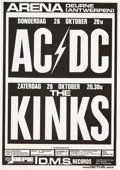 Music Memorabilia:Posters, AC/DC/Kinks Sporthal Arena Concert Poster (1978)....