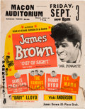 Music Memorabilia:Posters, James Brown Macon Auditorium Concert Poster (Universal Attractions,1965). Rare....