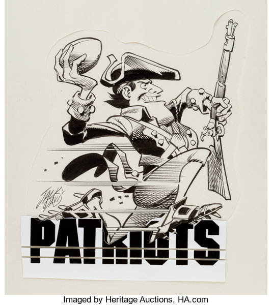 Jack Davis New England Patriots Football Illustration Original Art