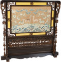 Furniture, A Chinese Lacquered Wood Fire Screen with Kesi Silk Woven Textile Panel, 19th century. 44-7/8 x 46-1/4 inches (114.0 x 117.5...