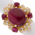 Estate Jewelry:Rings, Ruby, Diamond, Gold Ring. ...