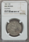 Seated Half Dollars, 1863 50C -- Cleaned -- NGC Details. Unc. NGC Census: (0/51). PCGS Population: (1/61). CDN: $750 Whsle. Bid for problem-free...