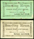Obsoletes By State:Wyoming, Unknown Location- Moses Lester Boarding House Chit for One Meal, Two Examples Very Fine or Better.. ... (Total: 2 notes)