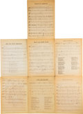 Music Memorabilia:Documents, Bob Dylan Various Compositions Sheet Music (circa 1960s). ...